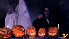 Spooky Little Ghosts Scaring And Frightening At stock video footage