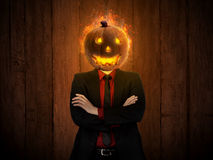 Spooky man with lantern head Stock Photography