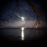 Spooky moon. Swansea Bay looking slightly sinister lit by moonlight Stock Image