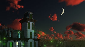 Spooky mystical mansion under night sky Royalty Free Stock Photo