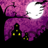 Spooky Night. A landscape of a full moon with bats and spooky houses royalty free illustration