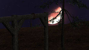 Spooky Night background with Gallow, Crows and Red Moon Stock Images