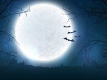 Spooky night background for Halloween banner. Spooky night background with full moon, scary trees and bats silhouettes. Halloween banner with copy space for Royalty Free Stock Photo