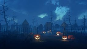 Spooky night cemetery with halloween pumpkins. Abandoned spooky cemetery with old decaying gravestones and Jack-o-lantern carved halloween pumpkins at dark misty Royalty Free Stock Photos