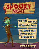 Spooky night. Halloween party. Cartoon vector illustration. Free entry. Funny zombie. Scary monster Royalty Free Stock Photo