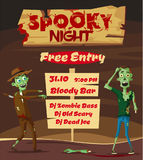 Spooky night. Halloween party. Cartoon vector illustration. Free entry. Funny zombie. Scary monster Royalty Free Stock Photos
