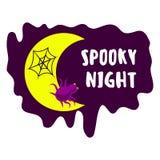 Spooky night logo, cartoon style royalty free illustration