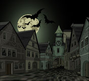 Spooky night at town. Spooky Halloween night at town vector illustration