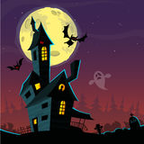 Spooky old ghost house. Halloween card poster. Vector illustration Royalty Free Stock Photo