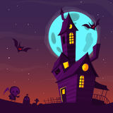 Spooky old haunted house with ghosts. Halloween cartoon background. Vector illustration. Royalty Free Stock Photo