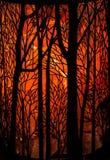 Spooky Orange Tree Background stock photography