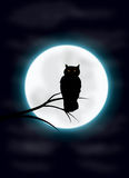 Spooky owl and moon Royalty Free Stock Photography