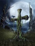 Spooky place 2. Night scenery with a spooky cross stock illustration
