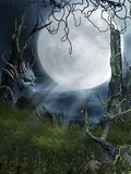 Spooky place 4. Spooky swamp with trees and thorns royalty free illustration