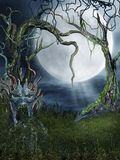 Spooky place 5. Spooky forest with a monster tree royalty free illustration