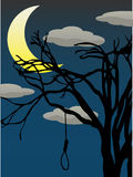 Spooky Quarter Moon bare tree hanging noose Royalty Free Stock Photos