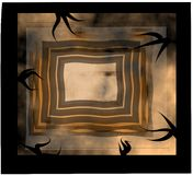 Spooky rectangles design. With black border and tendrils and brown rectangular shapes inside Royalty Free Illustration