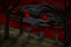 Spooky red eyes in the sky Royalty Free Stock Images