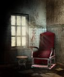 Spooky room with a chair. Spooky room with an old chair and stool Stock Photography