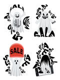 Spooky Sale Ghost. Cute white Halloween ghosts with scary faces, spooky sale design Stock Photography