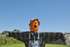 Spooky Scarecrow Sky Background Stock Photo