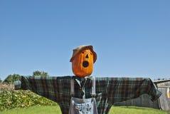 Spooky Scarecrow Sky Background Stock Photo