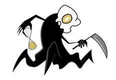 Spooky scythe man. Holding sandglass wathes isolated on white Royalty Free Stock Photos