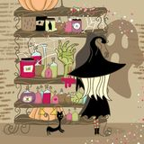 Spooky shelf. Witch and her personal storage of items for her magic Royalty Free Stock Photo