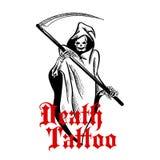 Spooky skeleton in cape with scythe sketch symbol Stock Image