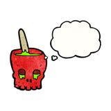 Spooky skull bowl cartoon Royalty Free Stock Photo