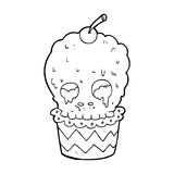 Spooky skull cupcake cartoon Royalty Free Stock Photos