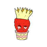 Spooky skull cupcake comic cartoon Royalty Free Stock Photography