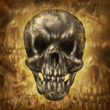 Spooky Skull. Spooky human skull concept on an old dirty grunge background on parchment paper texture as a fantasy halloween symbol of zombies and ghosts Royalty Free Stock Images