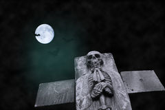 Spooky Skull and Moon Royalty Free Stock Images