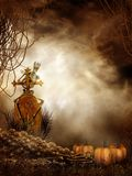 Spooky Skull Pile And Pumpkins Royalty Free Stock Photography