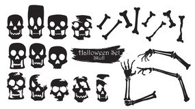 Spooky skull silhouette collection of Halloween vector isolated vector illustration