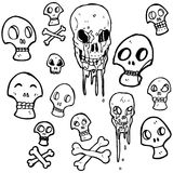 Spooky skull symbols cartoon collection Stock Photography