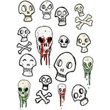 spooky skull symbols cartoon collection Royalty Free Stock Image