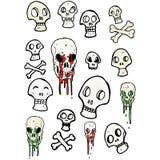 Spooky skull symbols cartoon collection Royalty Free Stock Image