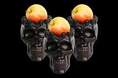 Spooky skulls with apple on black background. Great for halloween. Royalty Free Stock Photography
