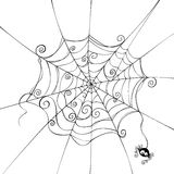 Spooky spider web. Isolated spider web in a fun way stock illustration