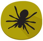 Spooky sticker with spider over white. Green sticker with spider over white background. Halloween theme clean design Royalty Free Stock Photo