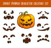 Spooky traditional halloween pumpkin character creation illustrations set. Spooky traditional halloween pumpkin character creation isolated vector illustrations Royalty Free Stock Photo