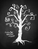 Spooky tree. Chalkboard drawing of spooky tree Stock Image