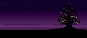 Spooky tree. Filled with different creatures.Imaginary Halloween night scene illustration.Horizontal banner design Stock Images