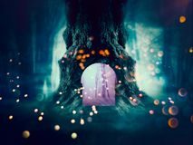 Spooky Tree in the Forest. Big crooked spooky tree in the night forest Royalty Free Stock Images