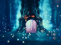 Spooky Tree in the Forest. Big crooked spooky tree in the night forest Stock Image