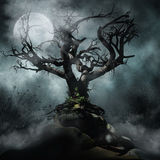 Spooky tree and moon. Dark foggy scenery with a spooky tree and full moon vector illustration