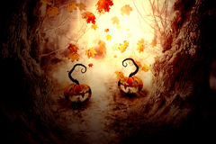 Spooky Tree and Pumpkin Stock Image