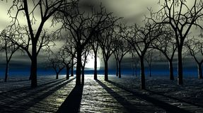 Spooky trees. Spooky 3d image of bare trees forest at night with full moon stock illustration